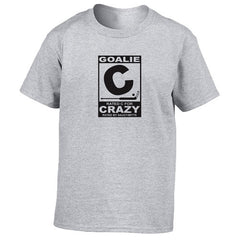 rated c for crazy hockey goalie youth shirt heather gray