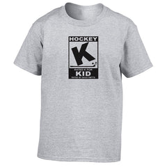 rated k for hockey kid shirt heather gray