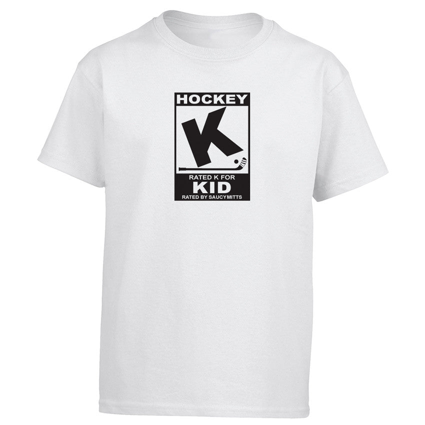 rated k for hockey kid shirt white