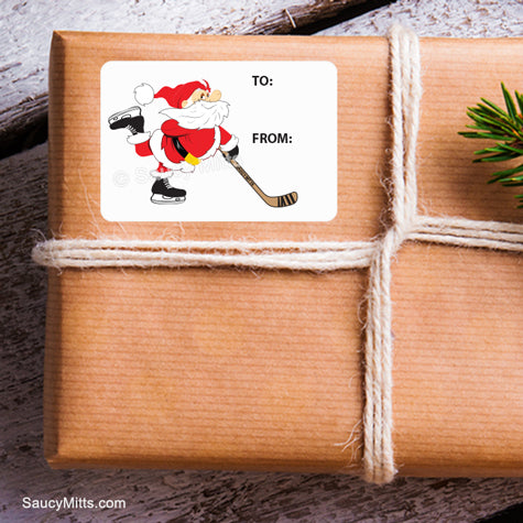 Hockey Christmas Present Label Santa