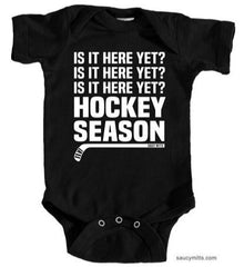 Hockey Season Is It Here Yet Infant Bodysuit black