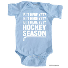 Hockey Season Is It Here Yet Infant Bodysuit light blue