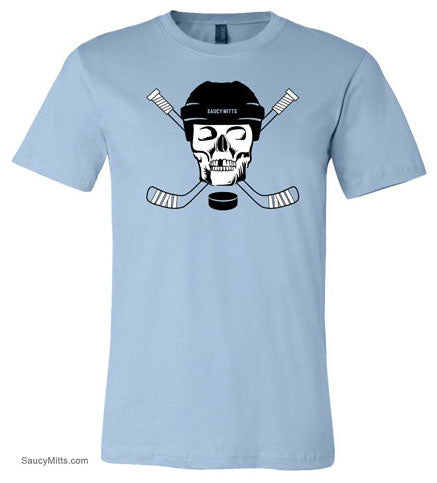 hockey skull youth hockey shirt light blue