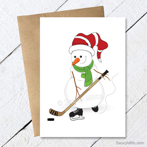 Hockey Snowman Christmas Card