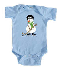 Hockey Snowman Infant Bodysuit light blue