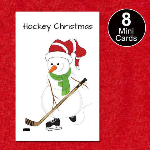 Hockey Snowman Christmas Mini Cards Gift Tags