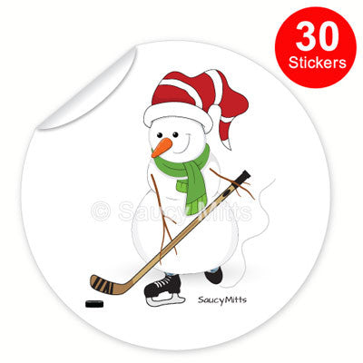 Hockey Snowman Stickers