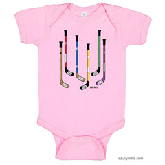 Colorful Hockey Sticks Baby Bodysuit light pink
