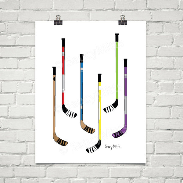 hockey sticks hockey poster print