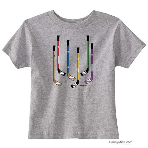 Colorful Hockey Sticks Toddler Shirt heather gray