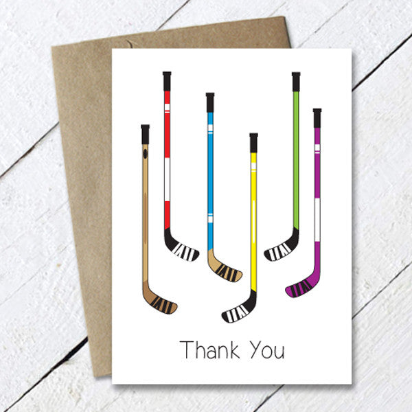 hockey thank you card - hockey sticks