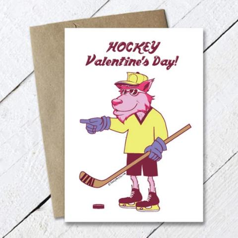 Cool Wolf Hockey Valentine's Day Card