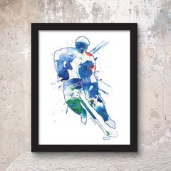 hockey watercolor poster print 8x10