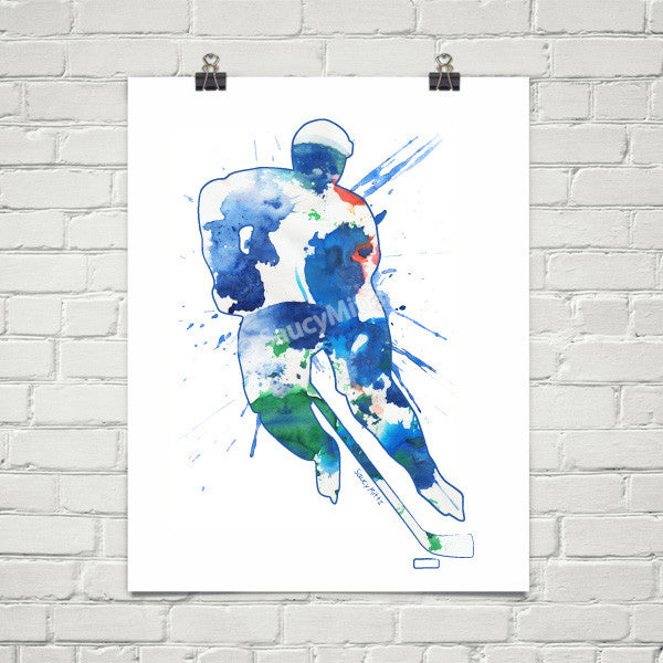 hockey watercolor poster print