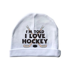 i'm told i love hockey baby beanie cap hat white