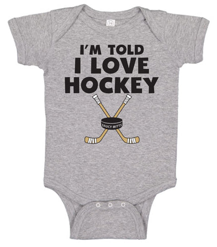 i'm told i love hockey infant bodysuit heather gray