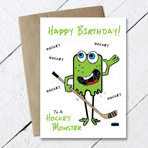 kids hockey birthday card hockey monster