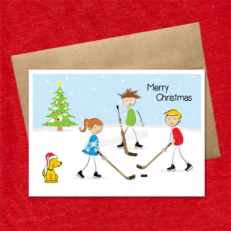 kids hockey christmas card