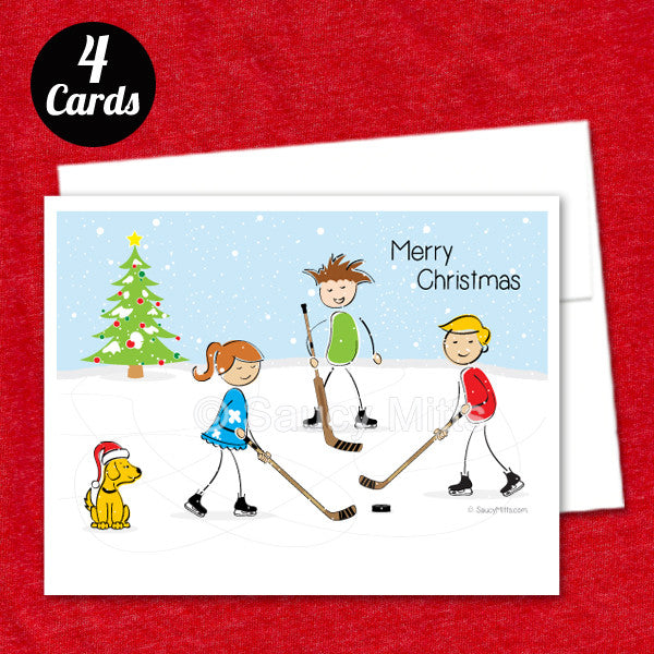 youth hockey christmas flat card 4 pack