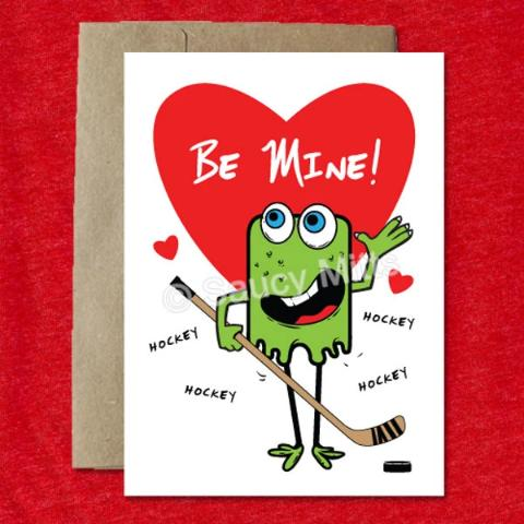 Kids Hockey Monster Valentine Card