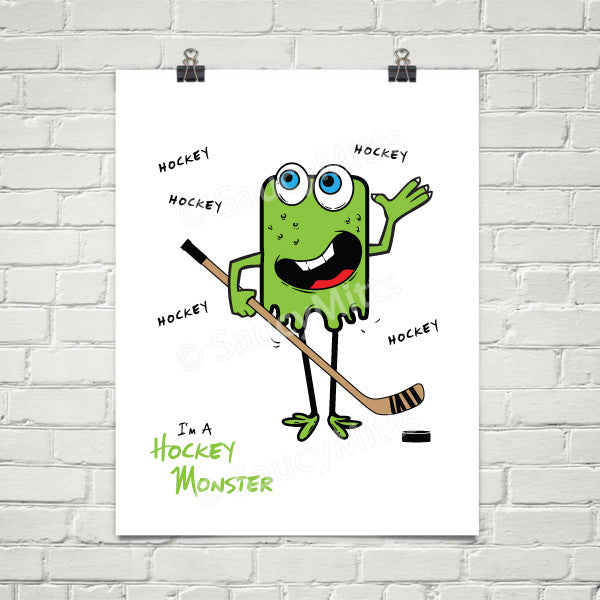 kids youth hockey monster poster