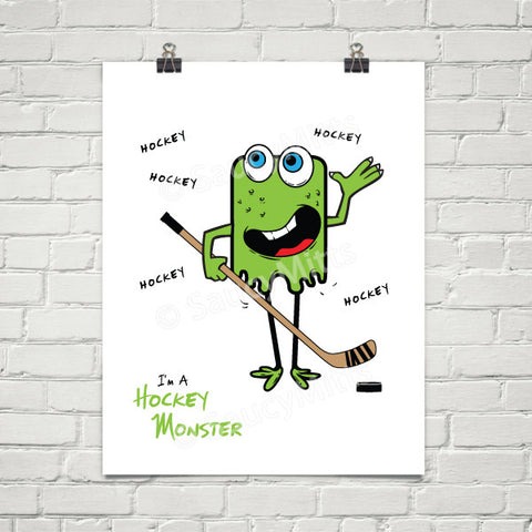 Kids Hockey Monster Poster