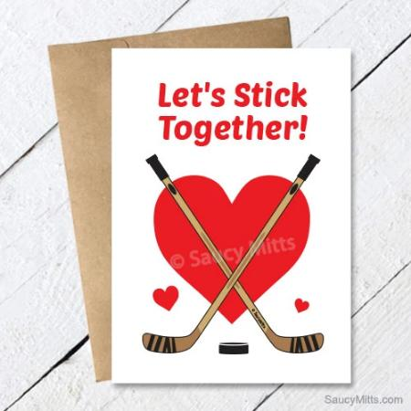 Hockey Valentine's Day Card - Let's Stick Together