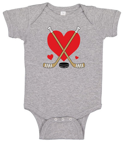 Love Heart Hockey Sticks Baby Bodysuit