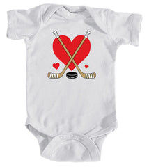 Love Heart Hockey Sticks Baby Bodysuit white