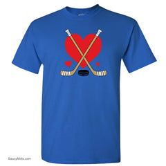 Girls Love Heart Hockey Shirt royal blue