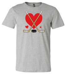 Girls Love Heart Hockey Shirt heather gray