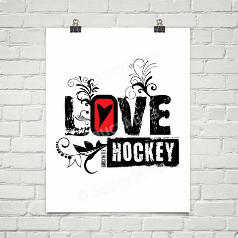 Love Heart Hockey Swirl Poster