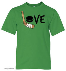 Girls Love Hockey Shirt - Color green apple