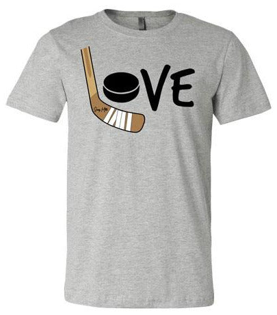 Girls Love Hockey Shirt - Color heather gray