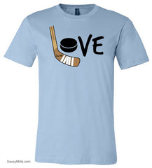 Girls Love Hockey Shirt - Color light blue
