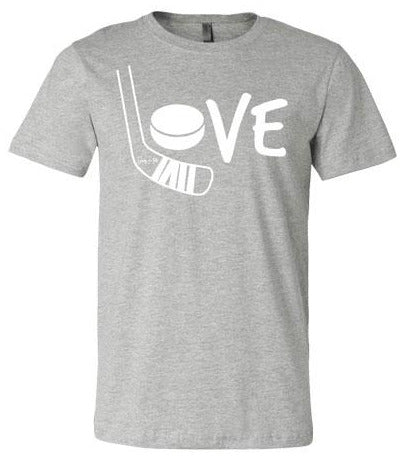 Girls Love Hockey Shirt White heather gray