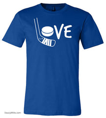 Girls Love Hockey Shirt White royal blue