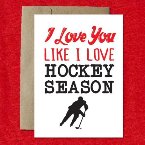 i love you like hockey season valentine's day card