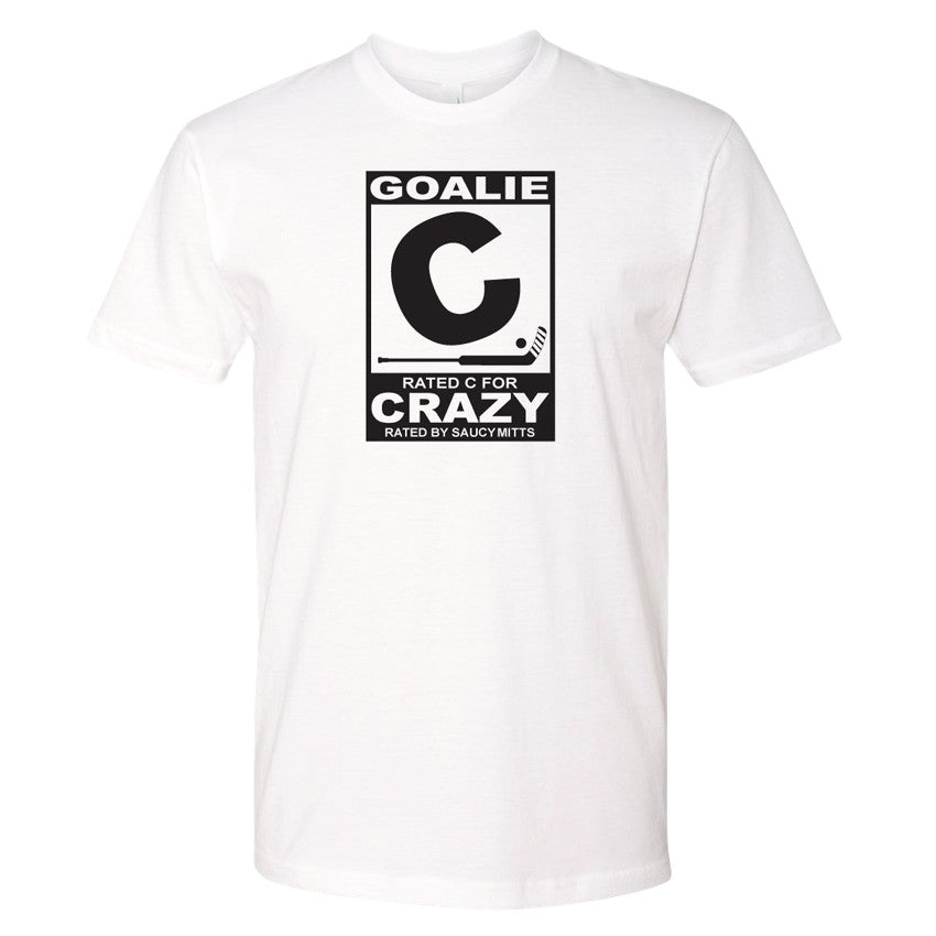 goalie rated c for crazy hockey shirt white