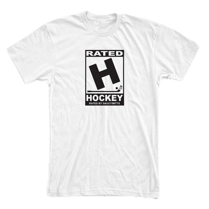 rated h for hockey shirt white