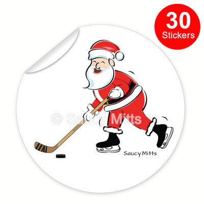 Santa Hockey Stickers