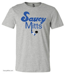 royal blue Saucy Mitts Hockey Youth Shirt heather gray