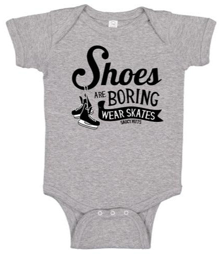 shoes are boring wear hockey skates infant onesie heather gray