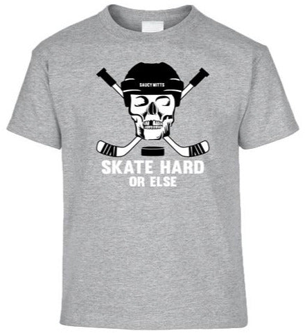 skate hard hockey skull youth hockey shirt heather gray