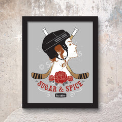 sugar and spice women's hockey print