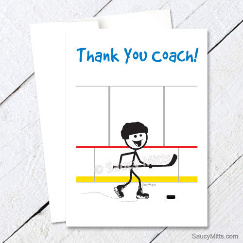 thank you hockey coach card - stick figure