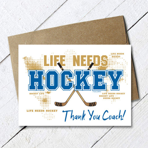 Thank You Hockey Coach Card Life Needs Hockey