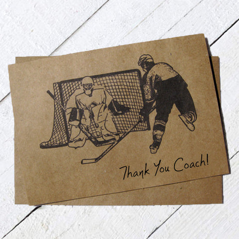 Thank You Hockey Coach Card Ink Sketch