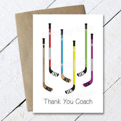 thank you hockey coach card hockey sticks
