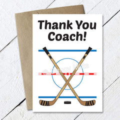 thank you hockey coach card - crossed sticks